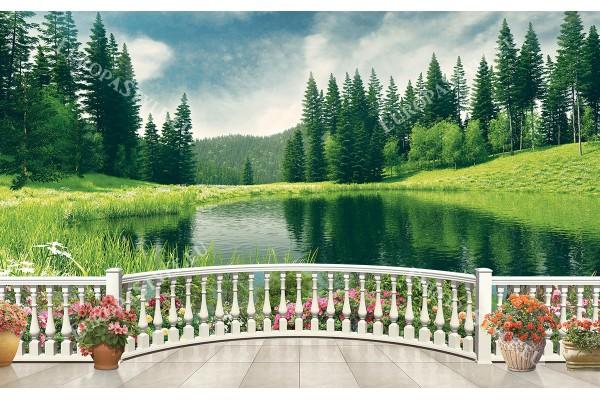 гледка с езеро край борова гора през парапет
