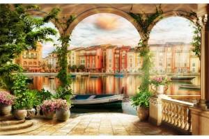 3д изглед на Венеция през колони с бръшлян