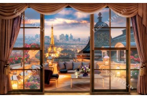 Фототапети 3д изглед на Париж през балкон по залез