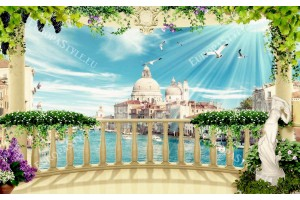 Фототапети 3д изглед през тераса гранд канал Венеция с цветя