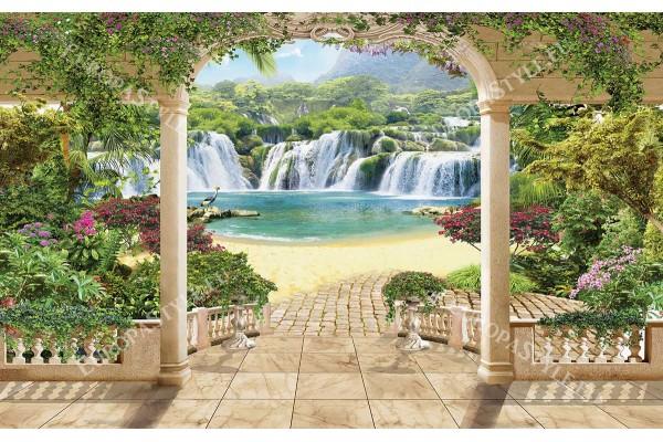 Фототапети красив изглед на водопади през колони