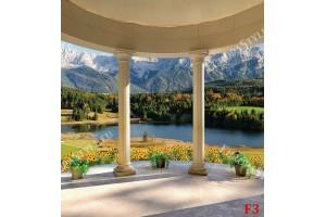 Фототапети тераса свод колони с планински пейзаж