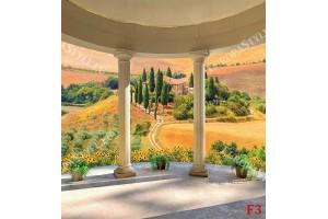 Фототапети тераса свод колони с пейзаж от Тоскана