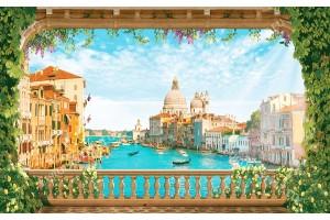 Фототапет 3д ефект Венеция-гранде канал през старинна тераса