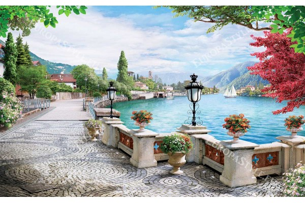 Фототапет 3д красив градски пейзаж с езеро рисуван модел