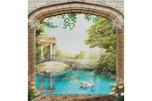Фототапет 3Д пейзаж с колони и изглед на езеро с лебеди