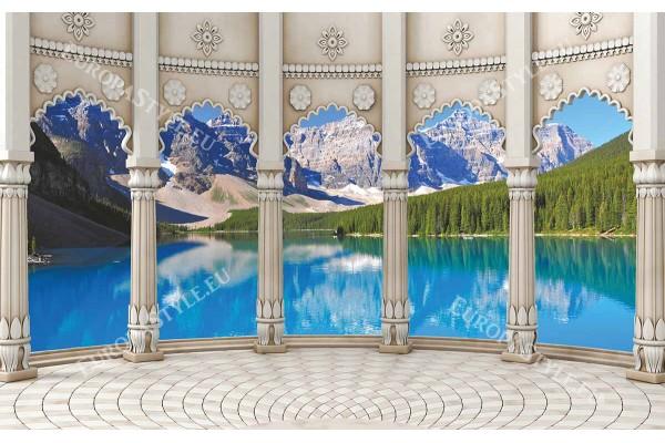 Фототапет 3Д природен пейзаж класически колони на планинско езеро