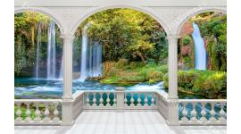 Фототапет класическа тераса с гледка с водопади