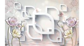 Фототапети 3D пастелни цветя в геометрична стена в цвята