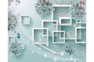 3д стена дизайн в цвят тюркоаз и светло син
