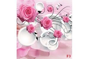 розови рози в модерна композиция с кръгове 3д