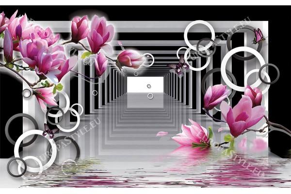 черно бял тунел с магнолии и 3д ефект сфери