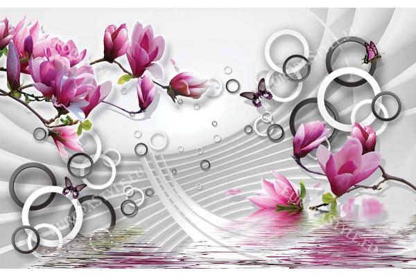 розови магнолии 3д ефект геометрична бяла стена