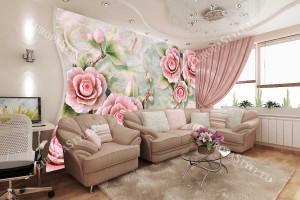 Фототапети порцеланови 3д релефни розови цветя в 2 варианта