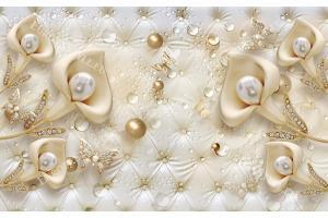 Фототапети 3д диамантени цветя калия върху кожа 2 цвята