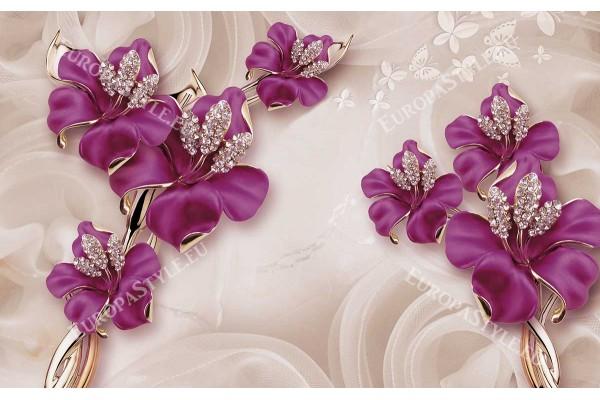 Фототапет 3д блестящи цветя основа с ефект на релеф 2 цвята