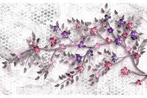 Фототапет цветна клонка с малки цветя с 3д ефект на сива основа