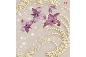 Фототапет 3д елементи с лилави нежни цветя в 2 цвята фон