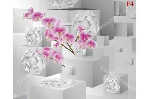 Фототапет 3д ефект флорални кубове с орхидея
