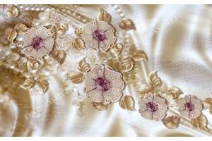 Фототапети диамантени цветя с златисти листа и камъни