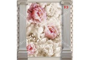 Фототапети рози на стена от тапицирана кожа с колони
