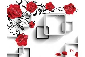 Фототапети червени рози стена 3д квадрати в бяло и черно