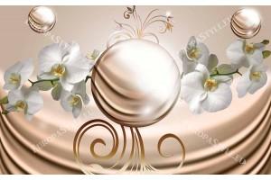 Фототапет бели орхидеи с абстрактен фон и сфери