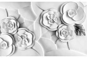 Фототапети релефни бели цветя с 3д ефект
