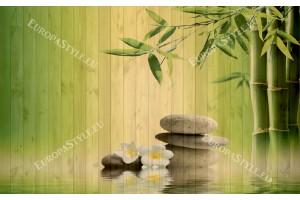Фототапети спа с бамбук на фон дървени греди