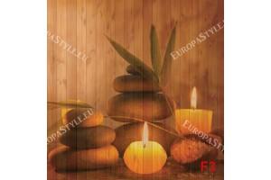 Фототапети спа свещи в кафяво на фон дървени греди
