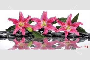 Фототапети спа камъни с розови лилиуми