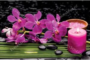 Фототапети цикламени орхидеи спа камъни и свещ