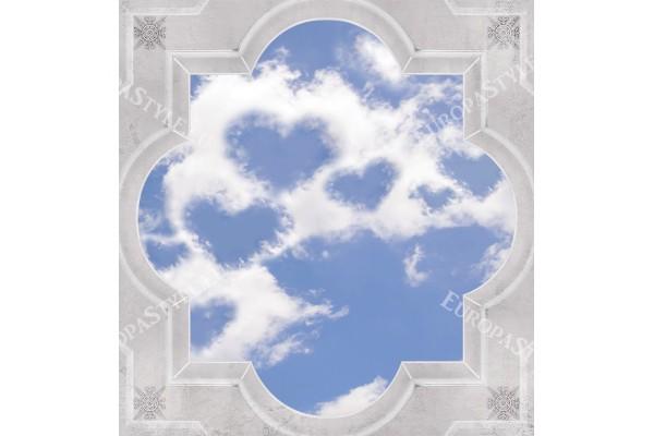 класическа рамка с орнаменти за таван небе и облаци сърца