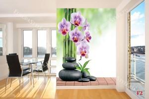 Фототапети лилави орхидеи и спа камъни