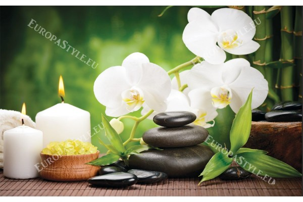 Фототапети спа композиция с бамбуки и бели орхидеи