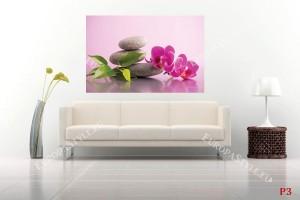 Фототапет орхидея и спа камъни на розов фон