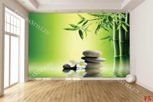Фототапет бамбук и сиви спа камъни