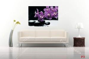 Фототапет орхидеи лилави клонка и черни камъни