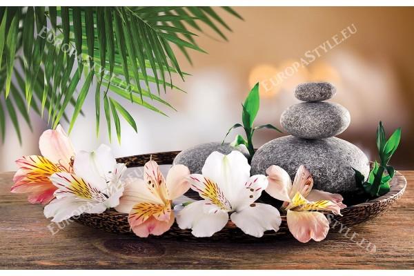 Фототапет спа композиция в кафяво и розови цветя