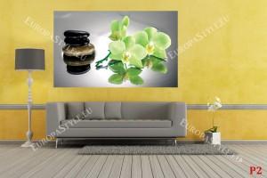 Фототапет спа камъни и зелени орхидеи