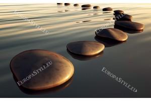 Фототапет пътека от камъни във вода 2 цвята