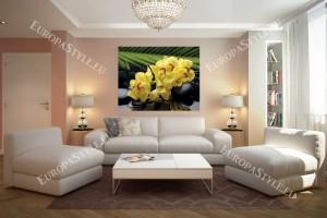 Фототапети спа камъни и жълти орхидеи