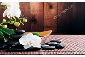 Фототапети спа композиция в кафяво с орхидеи