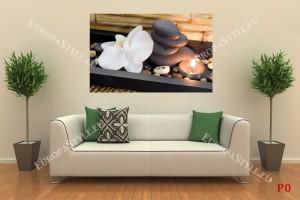 Фототапети спа композиция в кафяво с орхидея и свещ