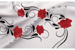 Фототапети орнаметика с рози и диаманти в 3 цвята
