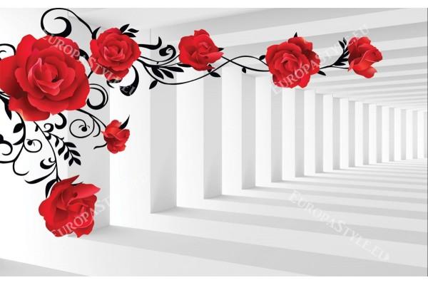 Фототапети 3d модел тунел червени рози с и без пеперуди