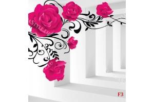 Фототапети 3d модел тунел розови рози с и без пеперуди