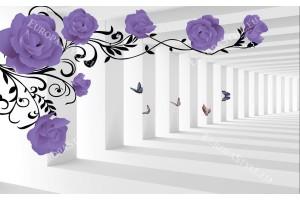 Фототапети 3d модел тунел лилави рози с и без пеперуди