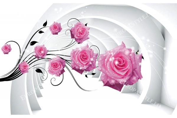 Фототапети 3D тунел с розови рози капки в 2 цвята