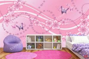 Фототапети орнаменти с цветя перли и пеперуди